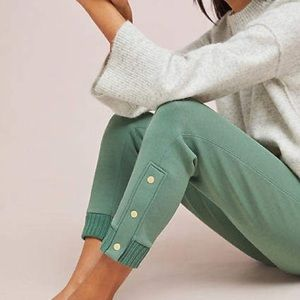 Anthropologie Green Terry Cropped Snap Joggers